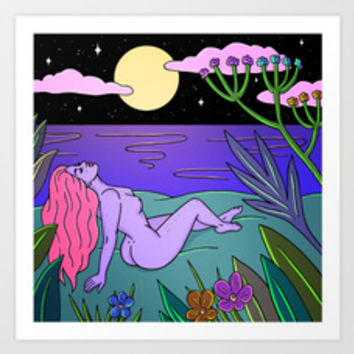 NIGHTSWIMMING Art Print by robineisenberg