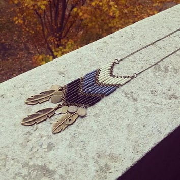Shaman Beaded Breast Plate // Tribal Chevron Beaded Necklace // Native American Style Feather Necklace // Geometric Jewelry