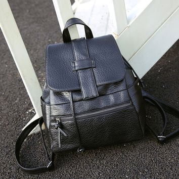 Black Shoulder Bag Vintage Retro Leather Backpack Daypack for Women