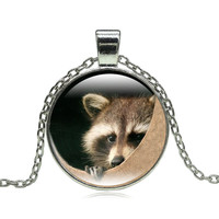 Vintage Jewelry Necklaces & Pendants Raccoon Pattern Art Glass Cabochon Pendant Statement Silver Chain Necklace for Women Gift