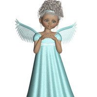 Angel Image, Angel Cutout, 3D Angel Template, Large 3D Angel Graphics Sheet[[Teal Angel]] Transfer Template,Transparent Background,Angel