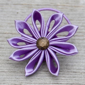 Hair accessories Tsumami Kanzashi violet purple  flower hair accessory. Ponytail holder.