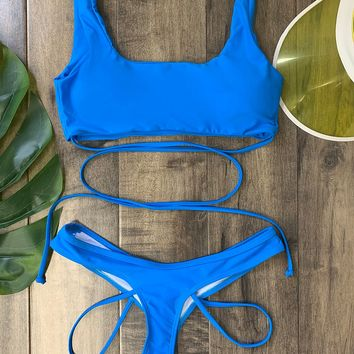 Pacific Grove Beach Two Piece Swimsuit - Blue