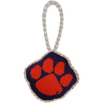 Clemson University Needlepoint Christmas Ornament in Purple and Orange by Smathers & Branson