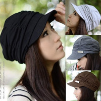 Korean Women's Fashion Pleat Brim Hat Stretchy Elegant Style Warm For Anutumn Winter = 1958125700