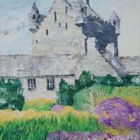 View: Cawdor Castle Scotland 60x120x4 cm palette knife painting garden Large painting S046 OOAK decor original big art ready to hang painting acrylic on stretched canvas wall art by artist Ksavera | Artfinder