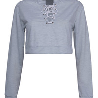 Gray Lace Up Front Crop Sweatshirt
