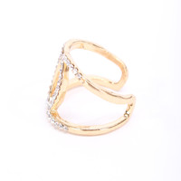 Gold High Polish Metal Perforated Rhinestone Accent Ring