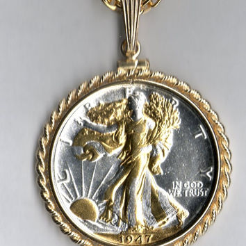 Gorgeous 2-Toned Gold on Silver Old U.S. Walking Liberty half dollar Necklace