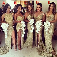 Luxury Sparkly Bridesmaid Dresses 2016 Sweetheart Sleeveless Five Styles Gold Sequin Long Bridesmaid Dresses Vestidos longo FQ22