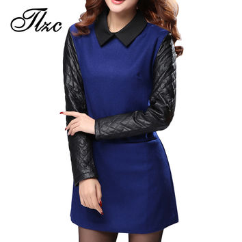 2017 Autumn Lady Patchwork Long Sleeve Dress Turn Down Collar Dress Size S-2XL Women Wool Dress Slim Fit Drop Waisted Dress