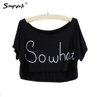 Candy Color Modal Crop Top 2017 Summer Style Print Letters So What Loose Short Sleeve Short T Shirt Femme Sexy Tops