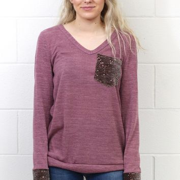 Time to Shine Sequin Pocket + Cuff Long Sleeve Knit {Mauve}