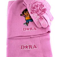 Dora the Explorer 3pc Cold Wear - Girls Scarf and Gloves