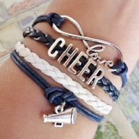 Infinity love Bracelet, Cheer Bracelet, cheerleader cheerleading bracelet, Antique silver Charm, blue navy/ white colors