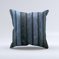Dark Blue Washed Wood Ink-Fuzed Decorative Throw Pillow