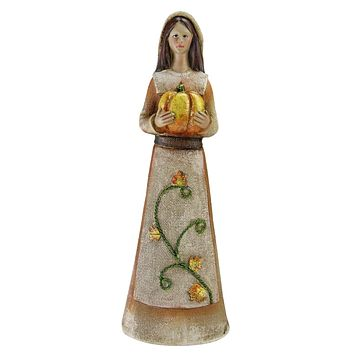 Marigold Orange  Tan and Brown Decorative Girl Pilgrim Figurine 11.75""