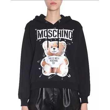 Moschino autumn and winter tide brand female pin pin bear print hooded sweater black