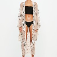 Missguided - Peace + Love Nude Embellished Kimono Jacket