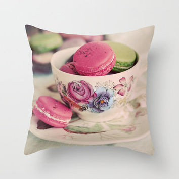 Macarons & Tea Throw Pillow by elle moss | Society6