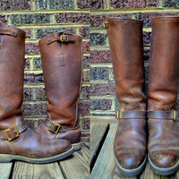 Vintage 50's Hudson Bay Extra Tall Brown Leather Engineer Motorcycle Boots, 10 D