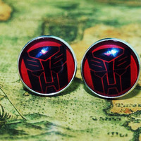 Men Cuff LInks , Transformer Optimus Prime Movie Design Cufflinks , Unique Silver Cuff Link , with a Gift Box