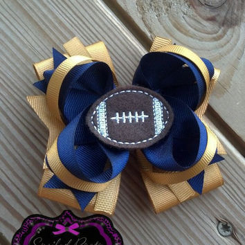 Football HairBow,Boutique HairBow,Infant Bow,Girls HairBow,Football Felt Bow-Layered Hairbows,Children's Bows