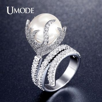 UMODE Ultra Big Pearl Jewelry Fire Shaped Rhodium Plated Micro Simulated Diamond Paved Rings for Women Anel Feminino UR0327