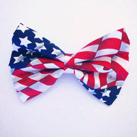 American Flag Print Hair Bow by DolledAndDaring on Etsy