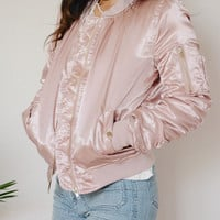 Satin Bomber Jacket (Pink)