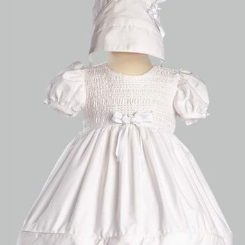 Natalie Short Cotton Smocked Dress with Bonnet