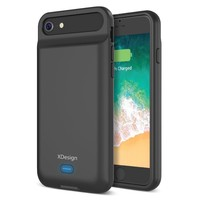 XDesign iPhone 8 7 6S 6 Battery Case, 3000mAH Apple iPhone 8/7/6S/6 Protective Charging case [Black] Portable Backup Battery Power Bank Protective Charger Case (Lightning Port Compatible)