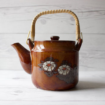 Vintage Ceramic Teapot with Wood Handle and Flowers | 60s Style Kitchen Decor