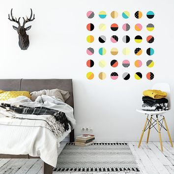 Color Pop Polka Dot Wall Decals, 36 Patterned Wall Stickers, Reusable Fabric Decals