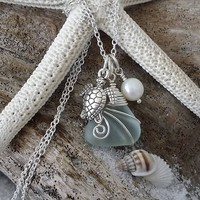 Made in Hawaii, Wire warpped Genuine Hawaii surf tumbled sea glass. Sea turtle charm, Fresh water pearl, Sea glass jewelry,Beach jewelry.