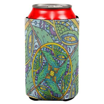 LMFCY8 Mandala Trippy Stained Glass Chameleon All Over Can Cooler