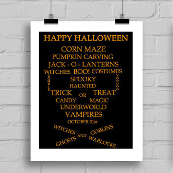 Happy Halloween Skull Printable Wall Decor (JPG/PDF) 8x10