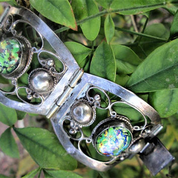 Signed Sterling Mexico Bracelet Hecho en Mexico D.F. TNC Green Opal Foil Art Glass 1940's Pre-Eagle Silver 925 Vintage Jewelry Gift