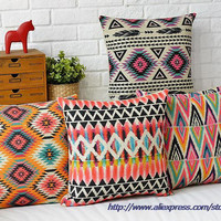 Nordic Decorative Sofa Cushions Cover,Linen Cotton Bohemian Ethnic Throw Pillows Covers,Grey Decoration Geometric Cushions Cover
