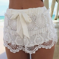 Bowknot Tie Lace Shorts