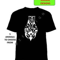 Animal Tshirt, Unique T-shirt, Animal Print, Bear Tshirt, Animal Art, Wolf Tshirt, Tribal Top, Tribal Clothing, Horse Tshirt, Turtle Tshirt