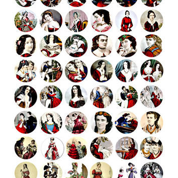 victorian ladies in red digital collage sheet download 1 inch circles image graphics jewelry pendants charms pins buttons
