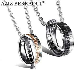 AZIZ BEKKAOUI Couple Necklace 316L Stainless Steel ETERNAL LOVE Lettering Name Logo Double Circle Pendant Necklaces For Lovers