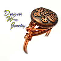 DWJ0417 Lovely Copper Butterfly Copper Wire Wrapped Ring All Sizes