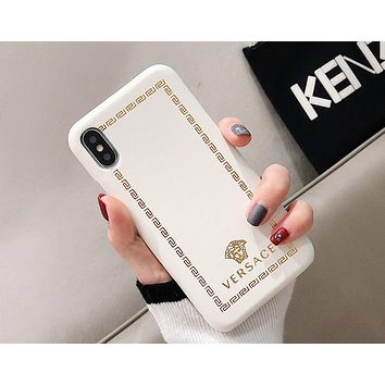 Versace Tide brand holster hard shell iPhoneXsMax mobile phone case cover White
