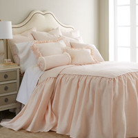 "King Pink Skirted Coverlet, 76"" x 80"" with 30"" Drop"