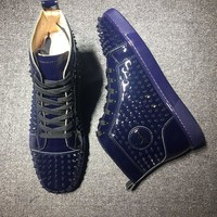 Cl Christian Louboutin Louis Spikes Mid Style #1803 Sneakers Fashion Shoes - Best Deal Online