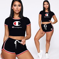 Champion Summer Fashion Sports Letter Women Top And  Shorts Two Piece Suit Women Black