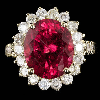 14K YELLOW GOLD 6.00CT RUBELLITE 1.35CT DIAMOND RING