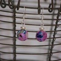 Handmade Purple Mother of Pearl Assembled Earrings with Silver Plated Accents